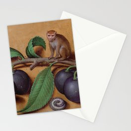 Monkeys, plums and sleeping caterpillar Stationery Cards