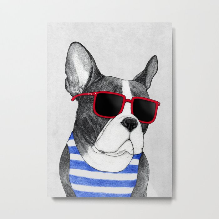 Frenchie Summer Style Metal Print