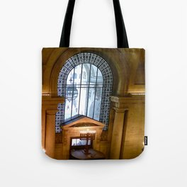 Menorah lit at the New York Public Library, New York City, New York Tote Bag