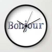 bonjour Wall Clocks featuring Bonjour by Bridget Davidson