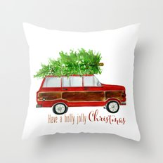 Christmas Wagoneer  Throw Pillow