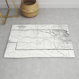 Vintage Map of Kansas (1859) BW Rug