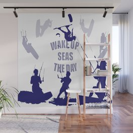 Wake Up Seas The Day Kiteboarder In Blue Shades Wall Mural