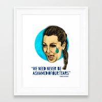 kim kardashian Framed Art Prints featuring Ugly Cry: Kim Kardashian Edition.  by Amelia Jude