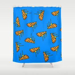 Pepperoni Pizza Dripping Cheese by the Slice Pattern (blue) Shower Curtain