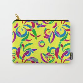 Pattern from colored doodles and curls in floral ornament in ethnic style on a yellow background. Carry-All Pouch