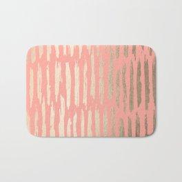 Vertical Dash Tahitian Gold on Coral Pink Stripes Bath Mat