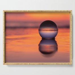An orange Lensball summer Ocean Beach sunset Serving Tray