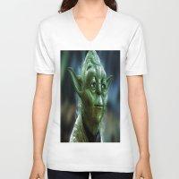 yoda V-neck T-shirts featuring Yoda by Robin Curtiss