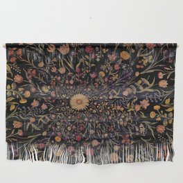 Medieval Flowers on Black Wall Hanging