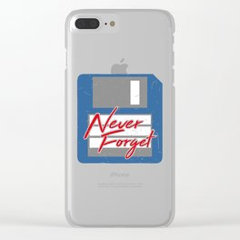 Never Forget | Retro Floppy Disk Clear iPhone Case