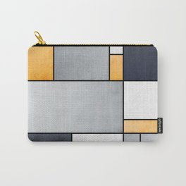 Color Composition - Grey, Blue, White, Orange - Abstract Geometric Pattern Design (1/4) Carry-All Pouch