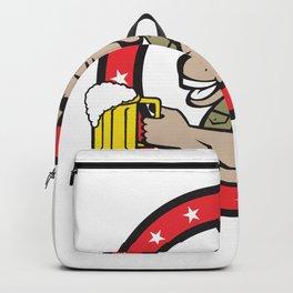 Donkey Beer Drinker Circle Retro Backpack