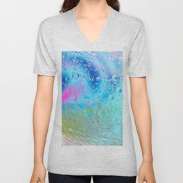Oil drops in water in motion. Multicolored abstract defocused psychedelic pattern image with mooving boubbles . Abstract background with colorful gradient colors. DOF Unisex V-Neck