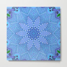 Malibu, Indigo & Aquamarine Flower Patterm Mandala Metal Print