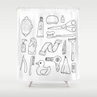 bathroom Shower Curtains featuring Bathroom. Cosmetics objects by Lera Efremova