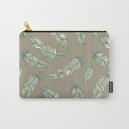 Linen grey flowery feathers Carry-All Pouch