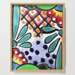 Colorful Talavera, Green Accent, Mexican Tile Design Serving Tray