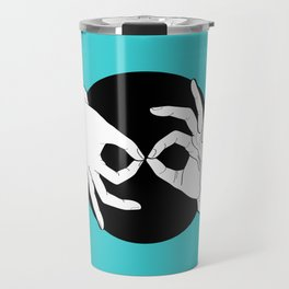 Sign Language (ASL) Interpreter – White on Black 11 Travel Mug