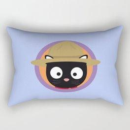 Park ranger cat in purple circle Rectangular Pillow