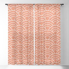Wave Pattern in Orange and White Sheer Curtain