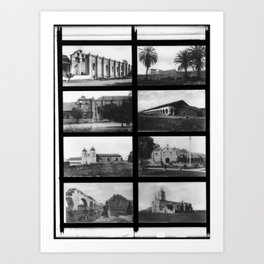 Eight views of seven different southern California Missions, ca.1895-1900 Art Print