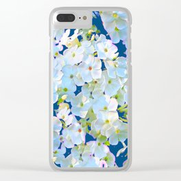 DELICATE TEAL & WHITE LACE FLORAL GARDEN Clear iPhone Case