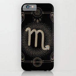 Golden zodiac scorpio sign iPhone Case