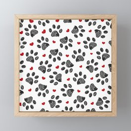 Seamless black paw print with red hearts Framed Mini Art Print