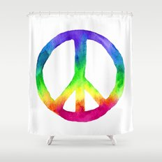 Rainbow Watercolor Peace Sign Shower Curtain