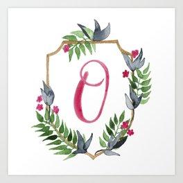 Jungle Gold Monogram Crest O Art Print