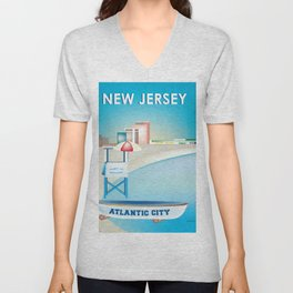 Atlantic City, New Jersey - Skyline Illustration by Loose Petals Unisex V-Neck