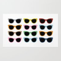 sunglasses Area & Throw Rugs featuring Sunglasses #4 by Project M