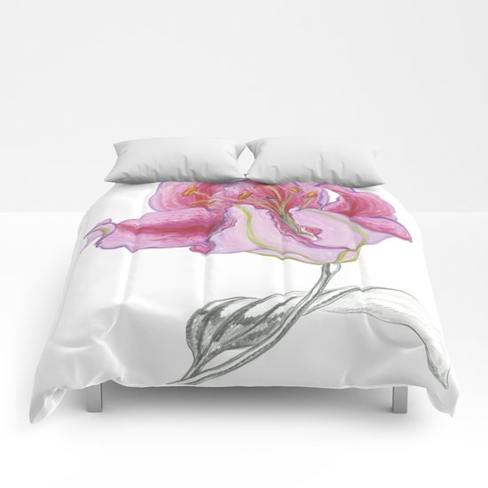 Lily 03 Botanical Flower * Pink Stargazer Rubrum Lily  Comforters