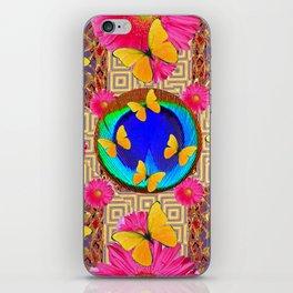 Fuchsia  Pink Yellow Butterflies Blue Patterns iPhone Skin