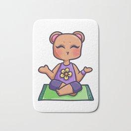 Yoga Bear Teddy Grizzly animal Meditation Gift Bath Mat