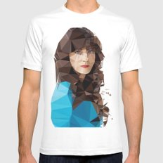Zooey Deschanel MEDIUM White Mens Fitted Tee