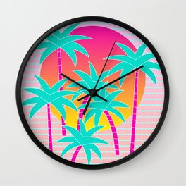 Hello Miami Sunset Wall Clock