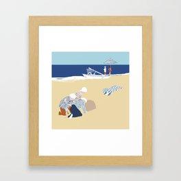 Children at the beach Framed Art Print