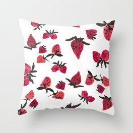 Watercolor Strawberries Throw Pillow