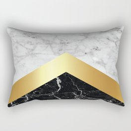 Arrows - White Marble, Gold & Black Granite #147 Rectangular Pillow