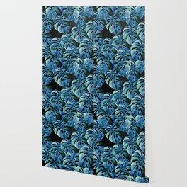 Monstera Pattern Blue On Chalkboard Wallpaper
