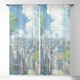Aesthetic Japanese Anime City View Sheer Curtain