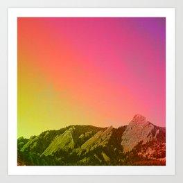 Boulder Colorado Flatirons Decor \\ Chautauqua Park Sunset Red Yellow Photo Nature Bohemian Style Art Print