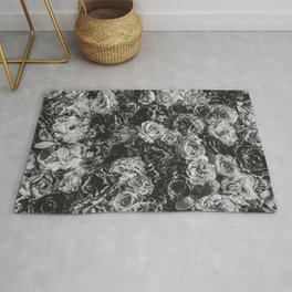 Flower Wall // Black and White Flat Floral Accent Background Jaw Dropping Decoration Rug