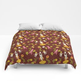 Astronauts in Space with Florals - Maroon Comforters