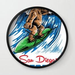 Original san Diego surf bear shirt beach gift Wall Clock