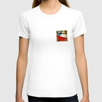 chile T-shirts featuring Chile grunge sticker flag by Lulla