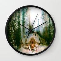 the hobbit Wall Clocks featuring HOBBIT HOUSE by FOXART  - JAY PATRICK FOX