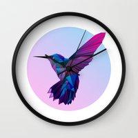 hummingbird Wall Clocks featuring Hummingbird by jenkydesign